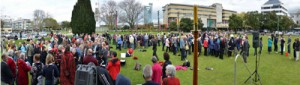 People having Eucharist in The Square, Palmerston North, as part of Synod 2012